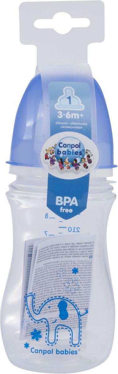 Canpol Babies Бутылочка антиколиковая Colourful Animals от 3 месяцев цвет синий 240 мл цена