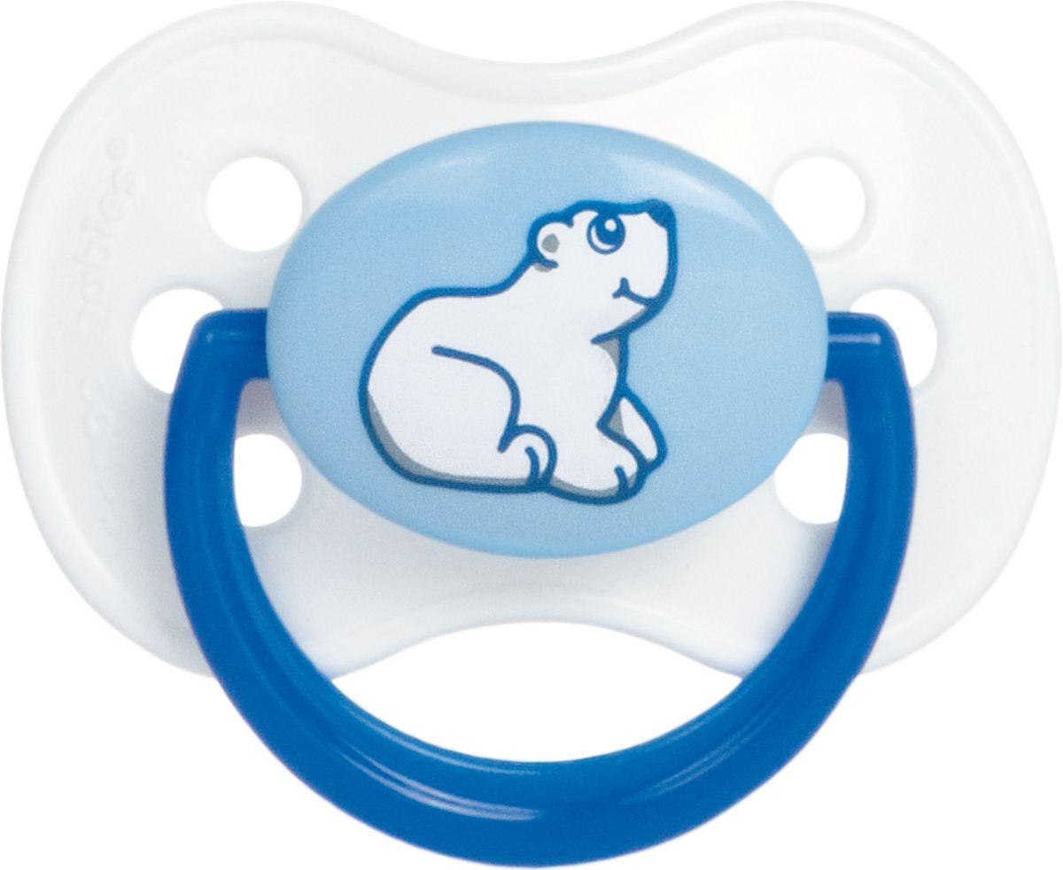 Canpol Babies Пустышка силиконовая круглая Animals от 0 до 6 мясяцев цвет синий