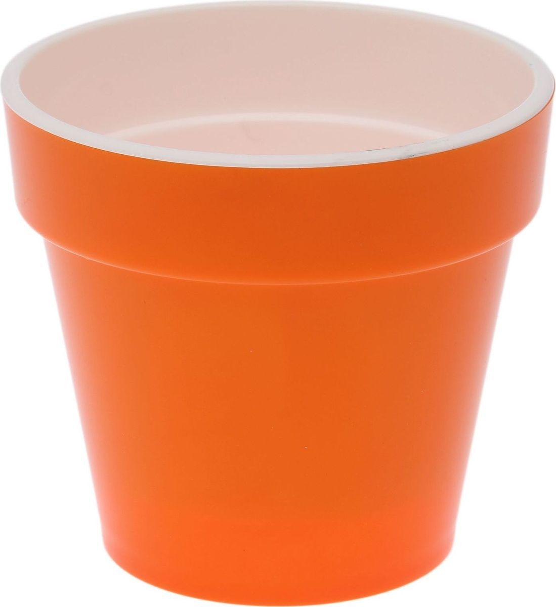 Кашпо JetPlast Порто, со вставкой, цвет: оранжевый, 1 л кашпо jetplast альфа с креплением цвет кремовый 1 л