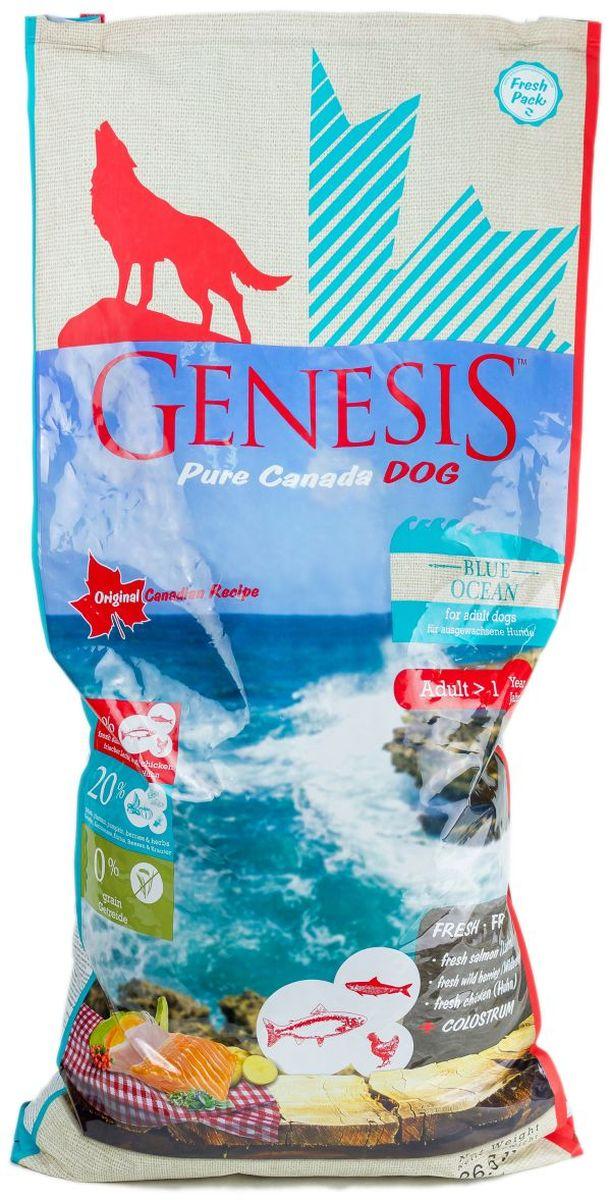 """Корм сухой Genesis Pure Canada """"Blue Ocean"""", для взрослых собак, с лососем, сельдью и курицей, 11,79 кг"""