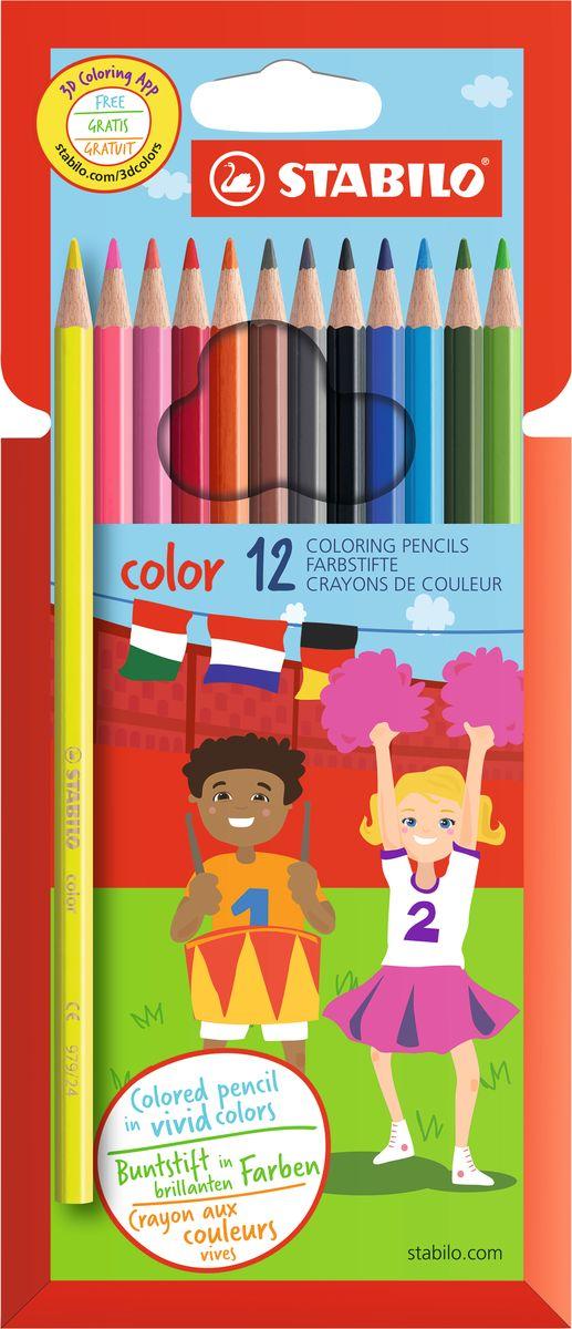 Stabilo Набор цветных карандашей Color 12 цветов stabilo stabilo детские цветные карандаши woody супертолстые 10 цветов