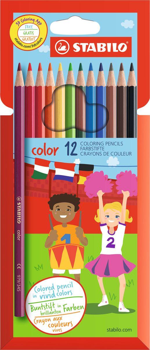 Stabilo Набор цветных карандашей Color 12 цветов 1912/77-11 stabilo stabilo детские цветные карандаши woody супертолстые 10 цветов