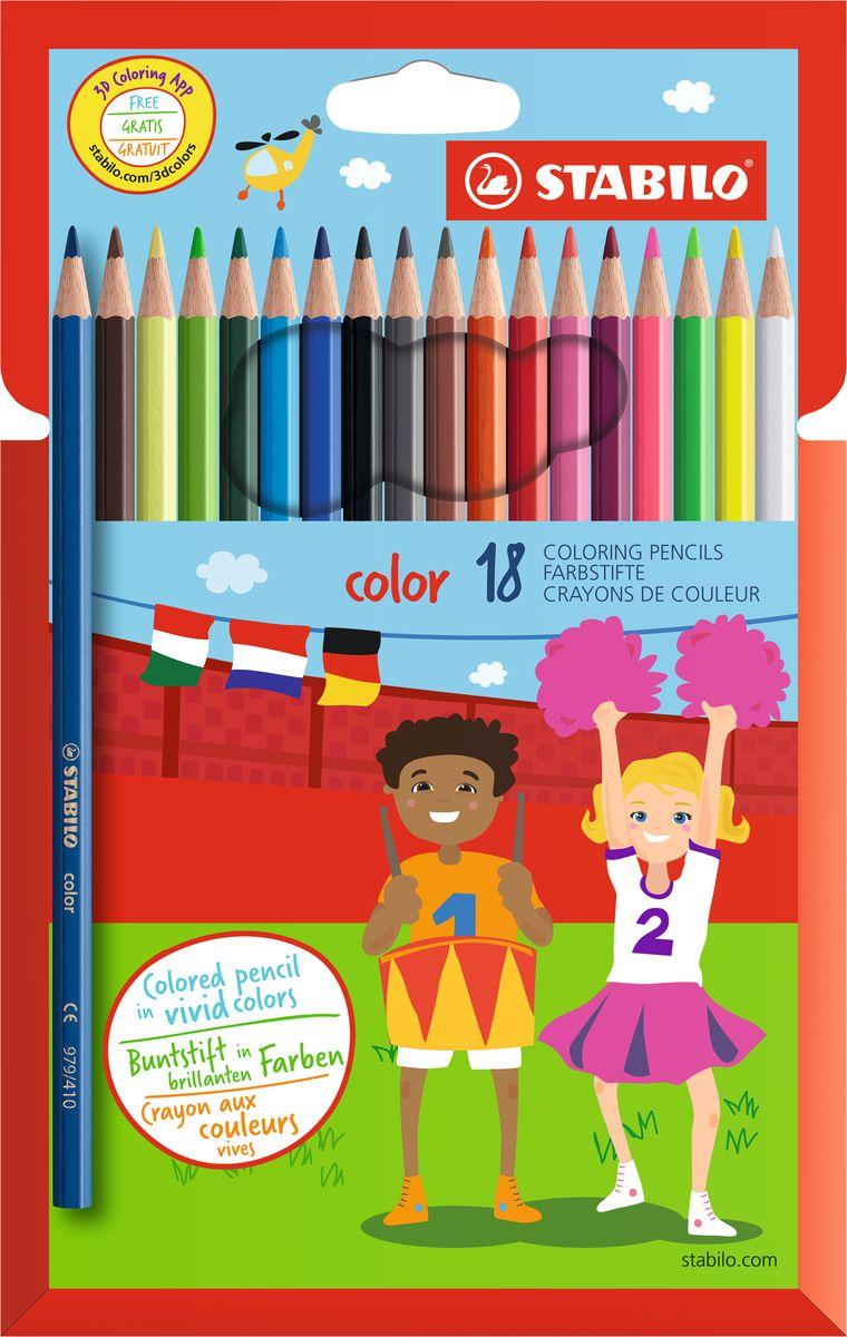 Stabilo Набор цветных карандашей Color 18 цветов stabilo stabilo детские цветные карандаши woody супертолстые 10 цветов