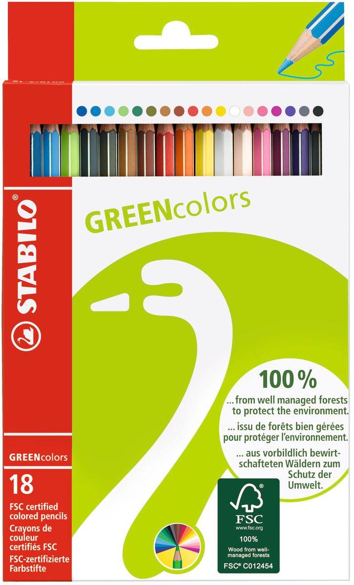 STABILO Набор цветных карандашей Green Colors 18 шт