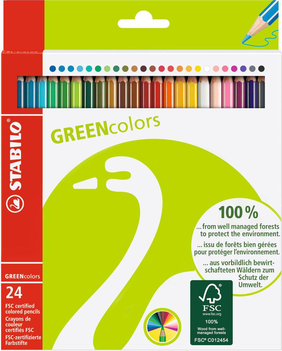 STABILO Набор цветных карандашей Green Colors 24 шт