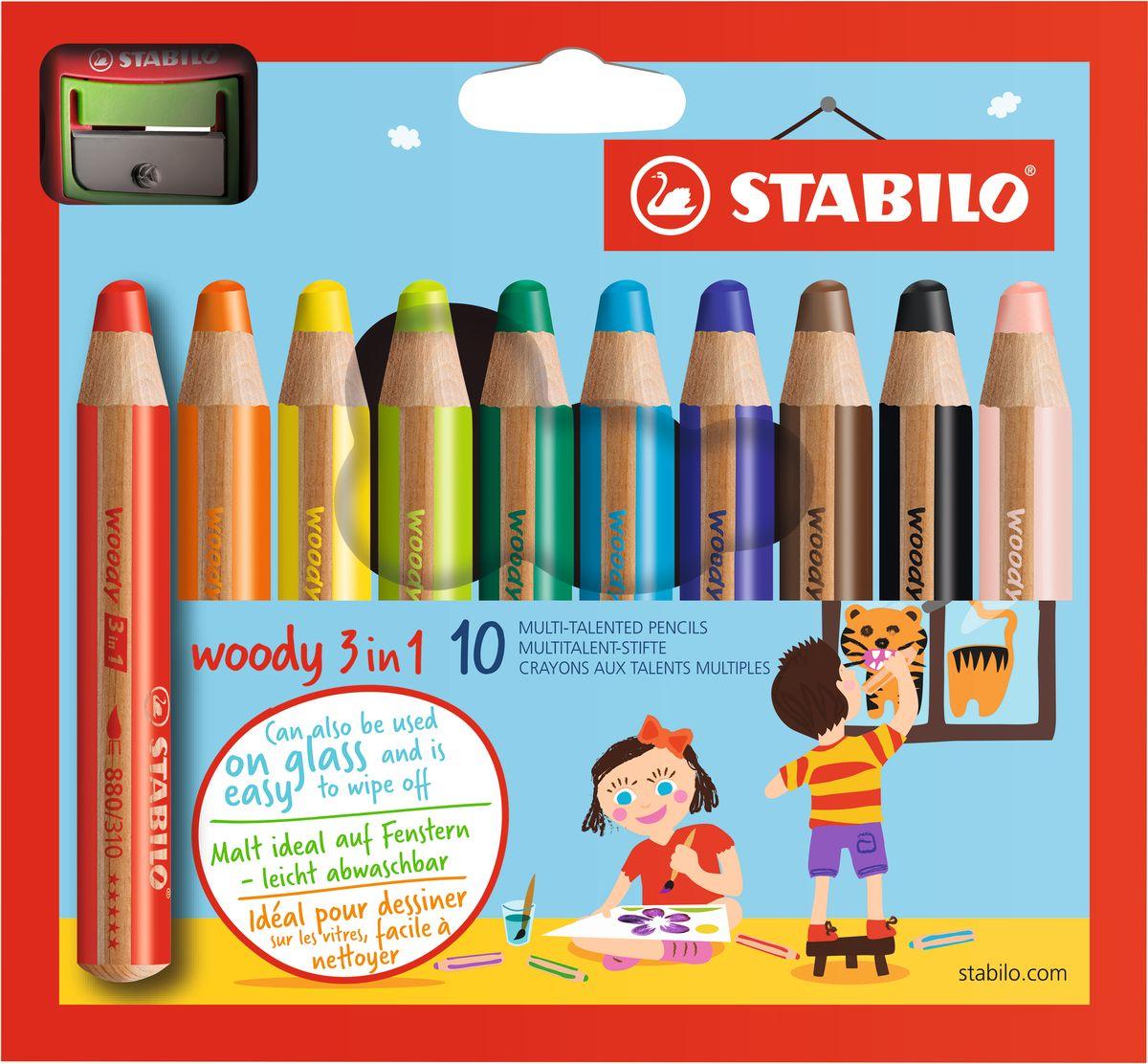 Stabilo Набор цветных карандашей Woody 3 in 1 10 цветов + точилка