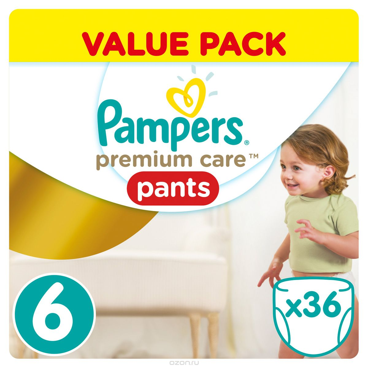 Pampers Pants Трусики Premium Care от 16 кг (размер 6) 36 шт