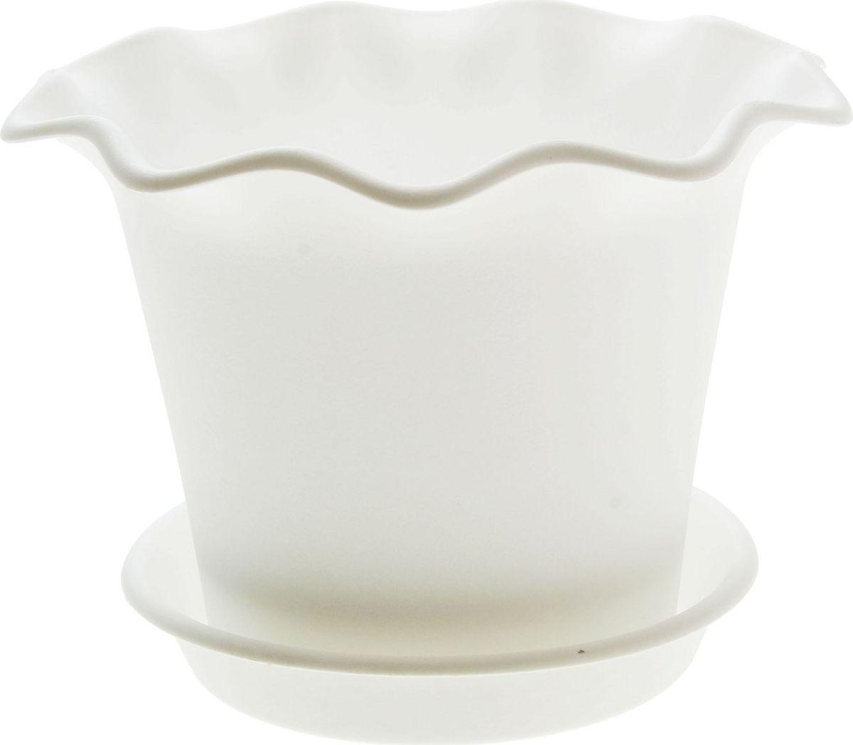 Горшок для цветов InGreen Бали, с поддоном, цвет: белый, диаметр 16 см поддон для балконного ящика ingreen цвет белый длина 60 см
