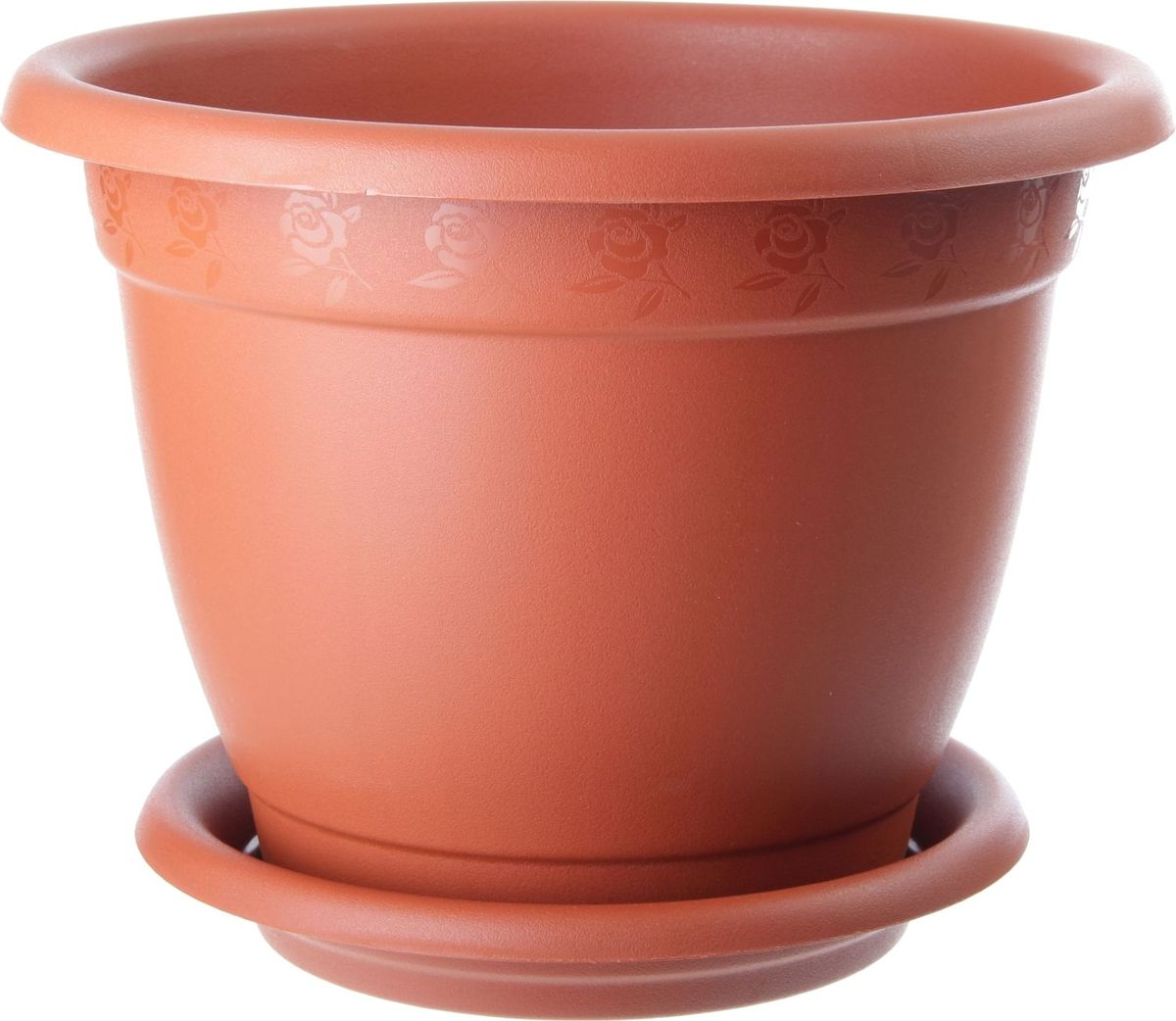 Горшок для цветов InGreen Борнео, с поддоном, цвет: терракотовый, диаметр 34 см поддон для балконного ящика ingreen цвет белый длина 60 см