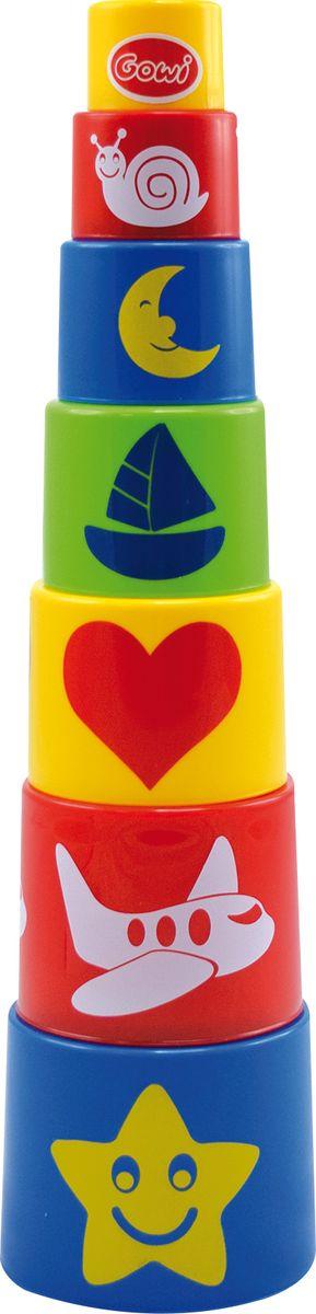 Gowi Набор игрушек для песочницы Ведерко-пирамидка Формочки 7 шт развивающие игрушки gowi ведерко пирамидка 21 предмет