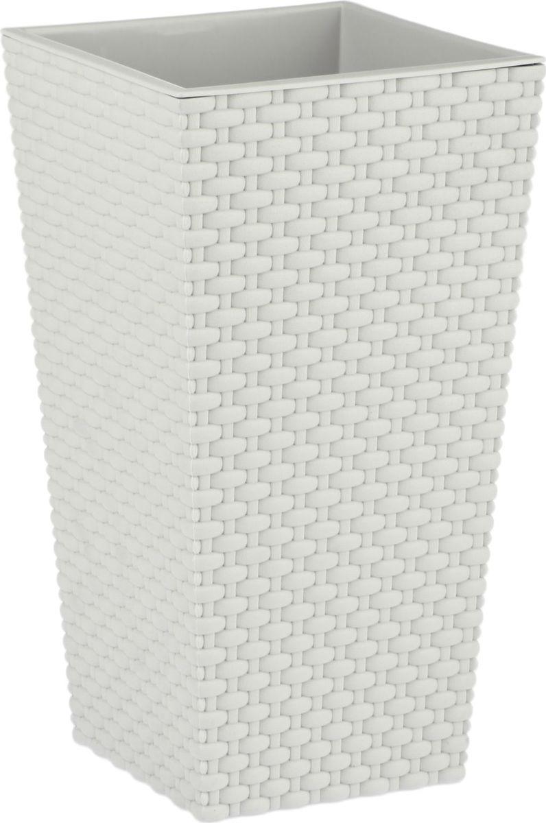 Кашпо Idea Ротанг, цвет: белый, 19,8 х 19,8 х 36 см кашпо для домашних растений umbra giardino цвет белый 34 х 16 х 34 см