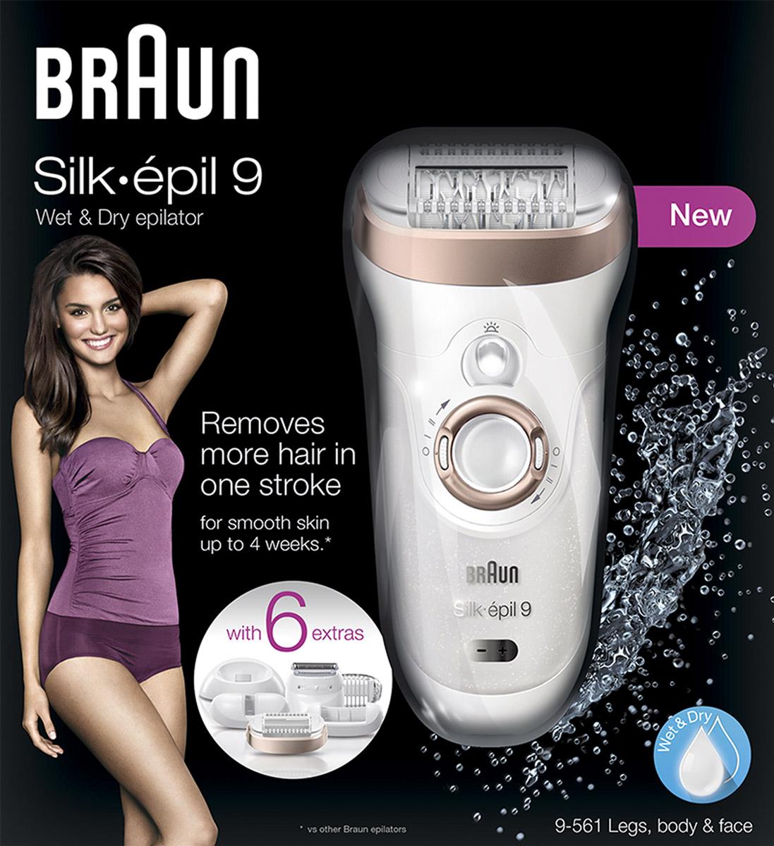Эпилятор Эпилятор Braun Silk-epil 9 9-561 Wet& Dryс 6 насадками Braun