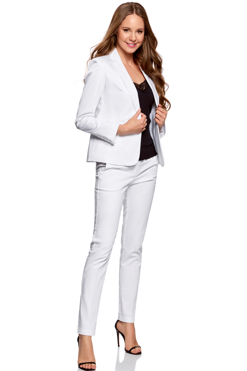 Жакет oodji жакет женский oodji collection цвет белый зеленый 21202076 2 45503 1262e размер 42 48 164
