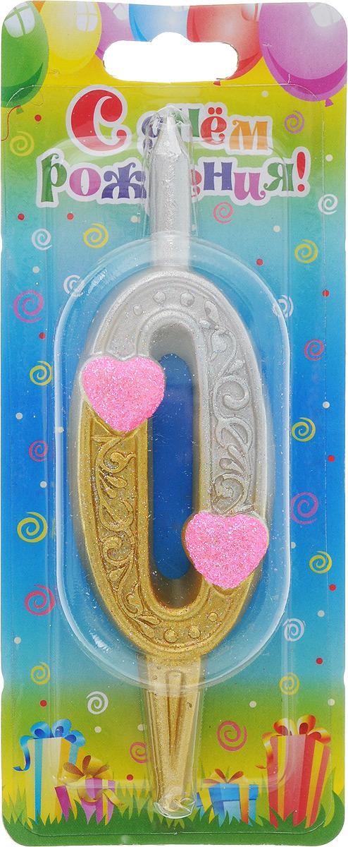 Свеча для торта Омский cвечной завод Цифра 0 с сердечками, высота 12,5 см свеча для торта омский cвечной завод цифра 5 с сердечками высота 12 5 см