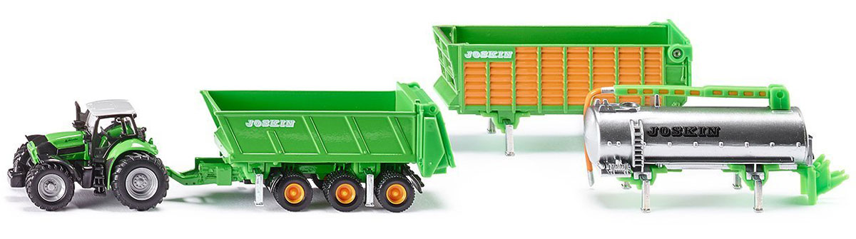 Siku Трактор Deutz Agrotron X720 с прицепами Joskin siku трактор new holland t7070 с опрыскивателем kverneland