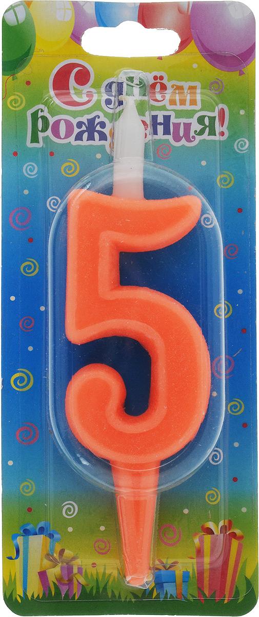 Свеча для торта Омский cвечной завод Цифра 5, цвет: красный, высота 12,5 см свеча для торта омский cвечной завод цифра 5 с сердечками высота 12 5 см