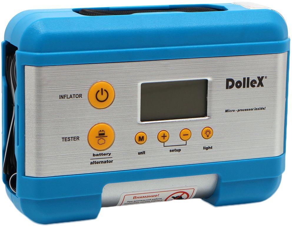 Компрессор автомобильный DolleX, предохранитель, фонарь, цифровой манометр, тестер, сумка, 12V, 15 A, 7 Атм, 30 л/мин
