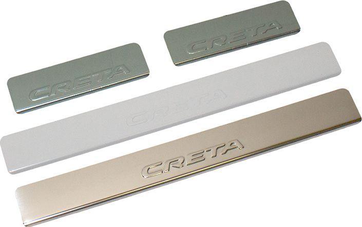 Накладки внутренних порогов DolleX, для HYUNDAI Creta, штамп CRETA, 4 шт липкая лента bondage tape