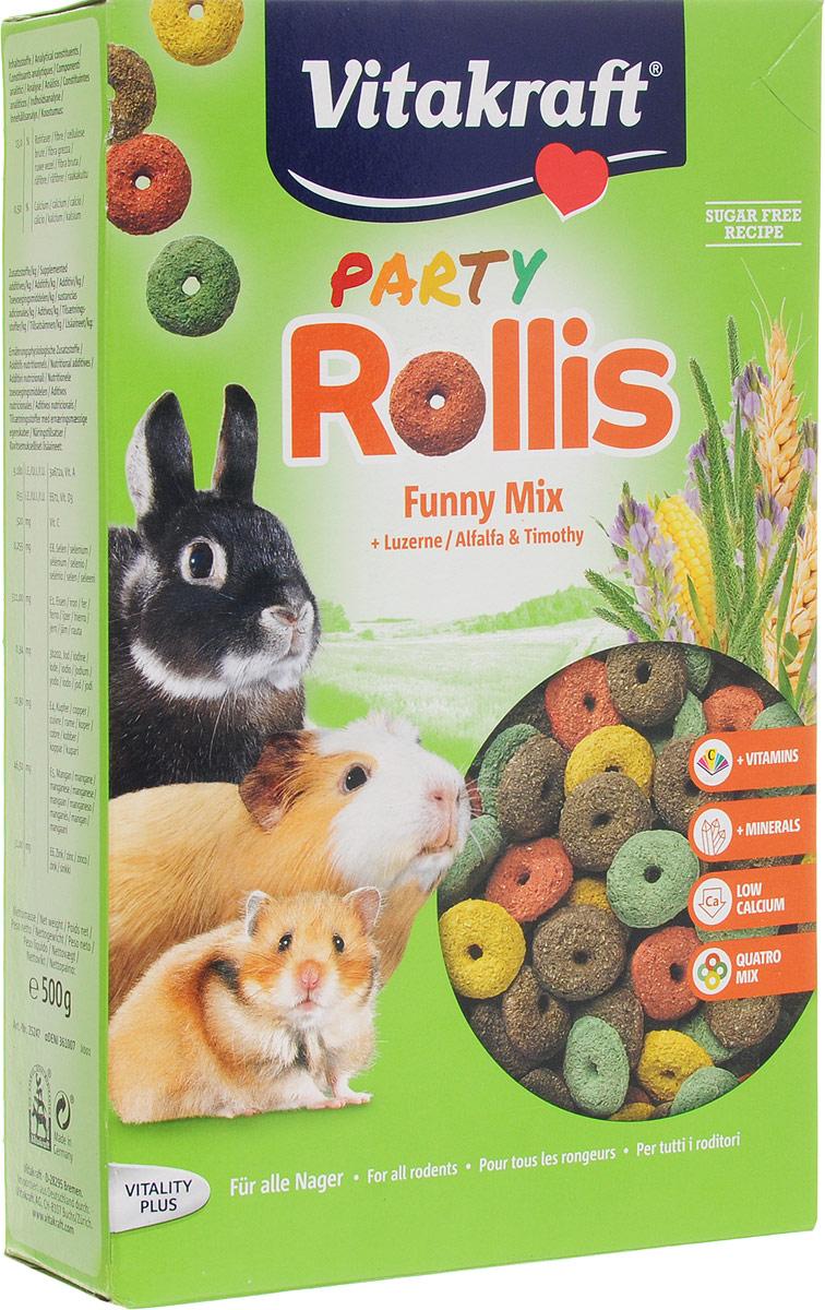 Корм для грызунов Vitakraft Rollis Party, дополнительный, 500 г корм для грызунов padovan колечки люцерна для кроликов 150 г