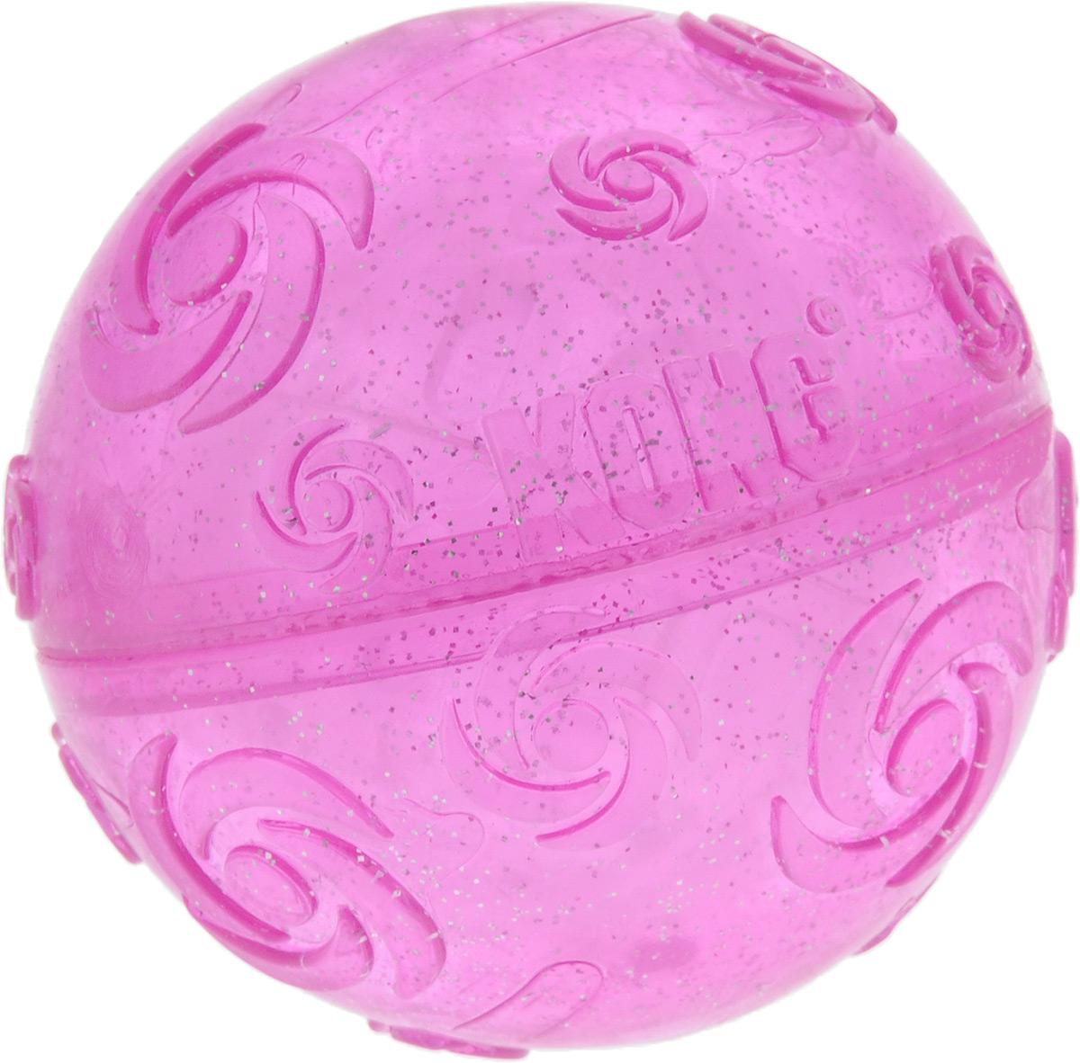 Игрушка для собак Kong Squezz Crackle, хрустящий мячик, цвет: сиреневый, диаметр 7 см игрушка для собак kong squezz crackle хрустящий мячик цвет зеленый диаметр 7 см