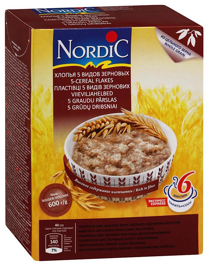 Nordic хлопья 5 видов зерновых, 600 г nordic хлопья пшенные 350 г