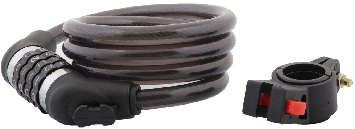 Замок велосипедный STG, трос спиральный, кодовый, цвет: черный, 12 мм х 120 см