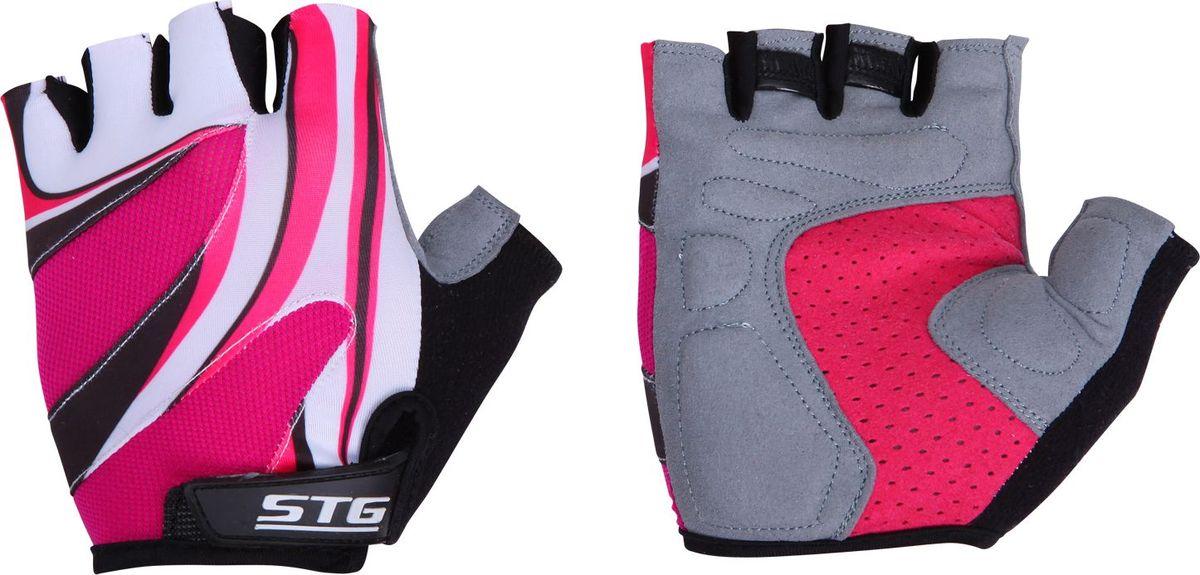 Перчатки велосипедные Stinger, летние, с дышащей системой вентиляции, цвет: розовый, белый, серый. Размер M