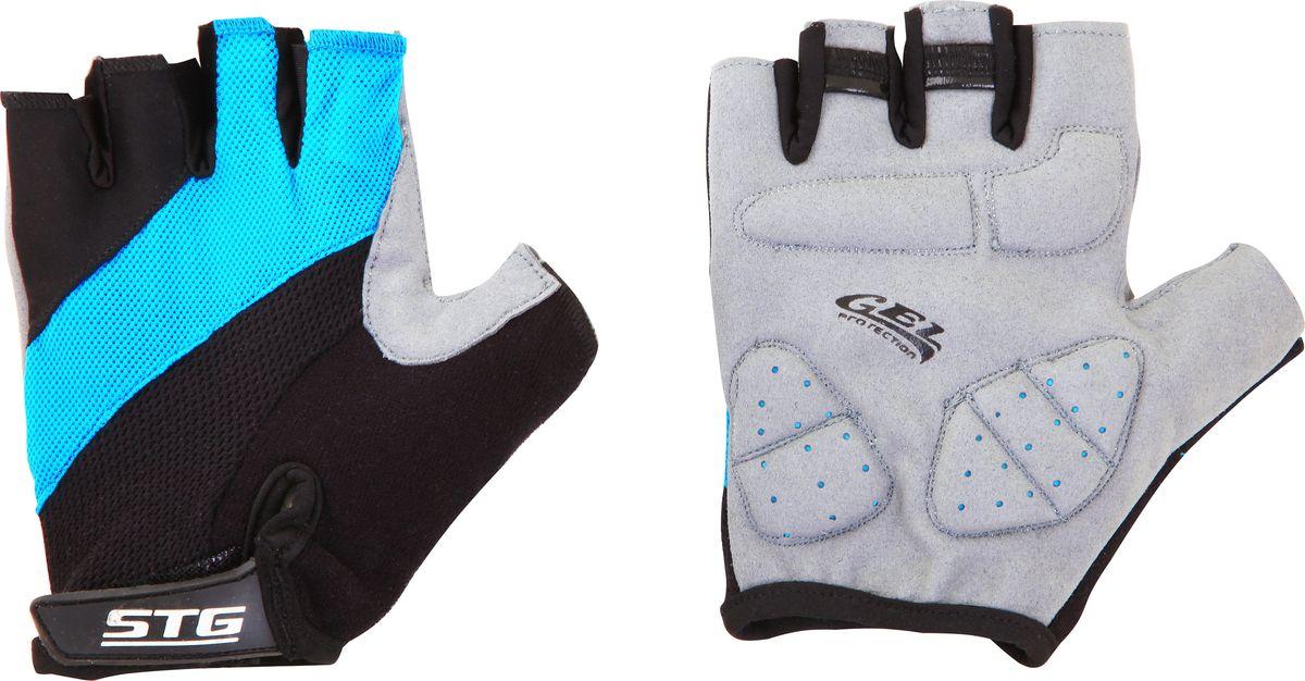 Перчатки велосипедные Stinger, летние, с защитной гелевой прокладкой, цвет: голубой, черный. Размер S