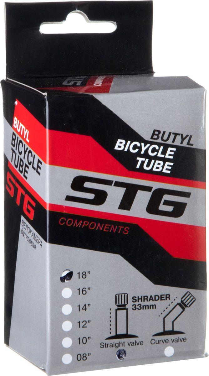 Камера велосипедная STG, с автониппелем, диаметр колеса 18, ширина колеса 1,75 камера велосипедная stern с автониппелем диаметр колеса 24