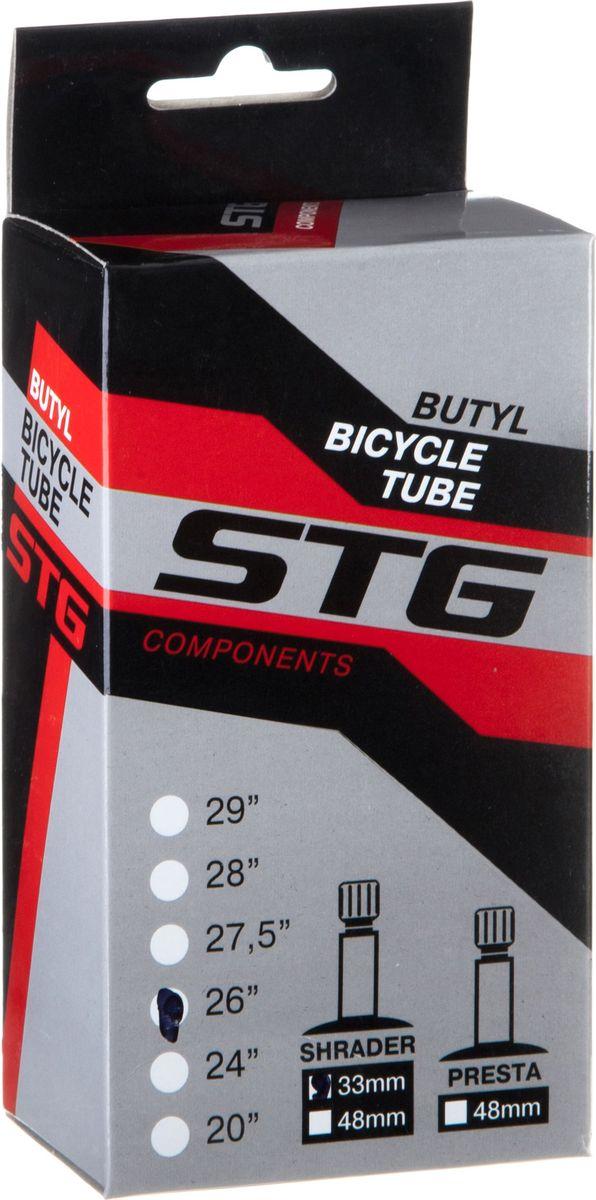 Камера велосипедная STG, с автониппелем, диаметр колеса 26, ширина колеса 1,75-1,95 камера велосипедная stern с автониппелем диаметр колеса 24