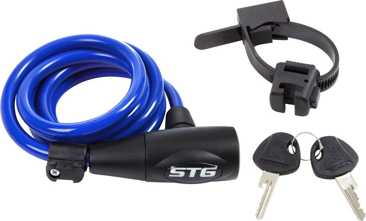 Замок велосипедный STG CL-428, с ключом, цвет: светло-синий, 10 мм х 150 см