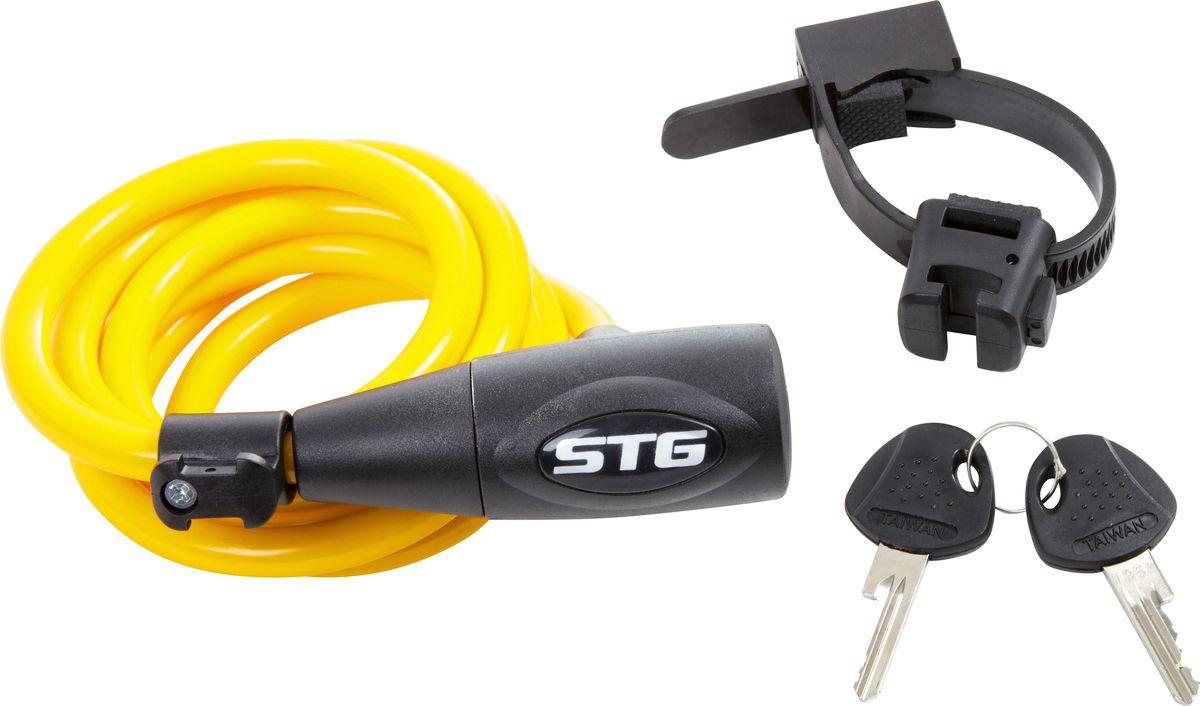 Замок велосипедный STG CL-428, с ключом, цвет: желтый, 10 мм х 150 см