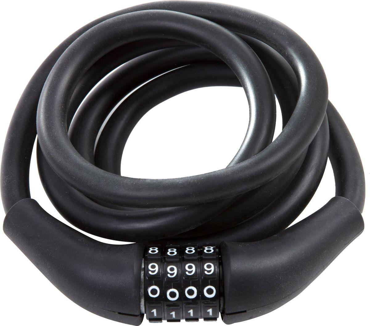 """Замок велосипедный STG """"CLM-866"""", кодовый, запоминающий форму трос, цвет: черный, 12 мм х 150 см"""