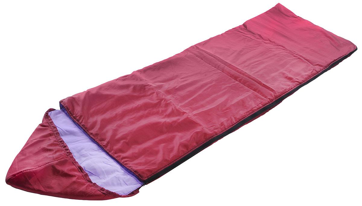 Спальный мешок Onlitop Комфорт, цвет: бордовый, 225 х 70 см мешок спальный onlitop богатырь правосторонняя молния цвет хаки 225 х 105 см