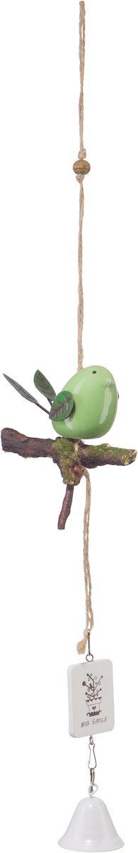 Украшение декоративное Engard Птичка с колокольчиком, цвет: зеленый, 44 х 10 см декоративное пасхальное украшение на ножке home queen роскошное цвет зеленый высота 27 см