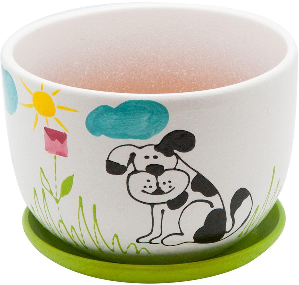 Горшок цветочный Engard Собака, с поддоном, 1,05 л цена