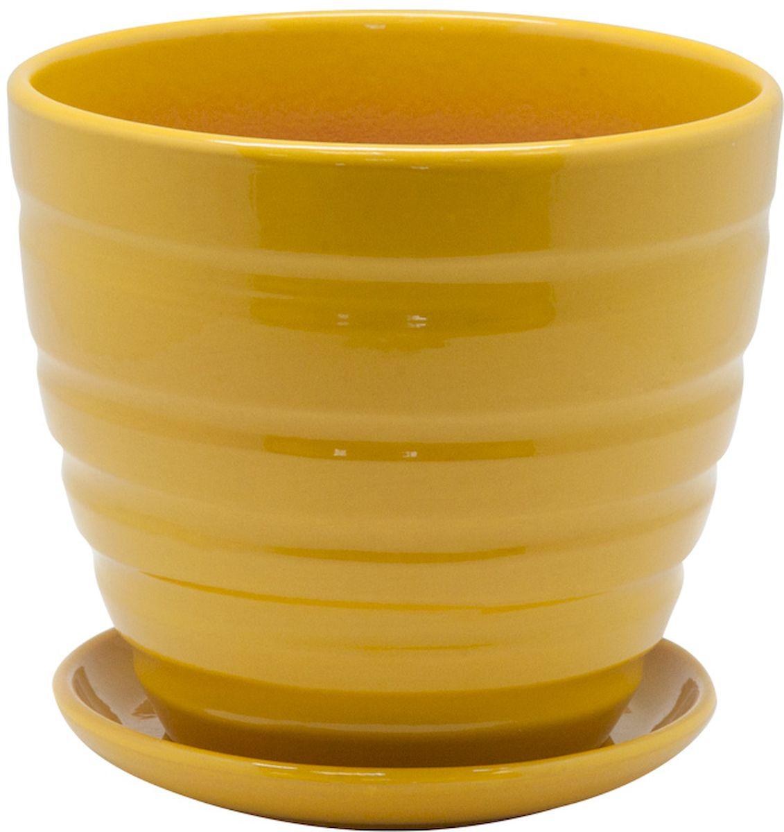 Горшок цветочный Engard, с поддоном, цвет: желтый, 1,4 л горшок керамический с поддоном листок 4 7 л желтый