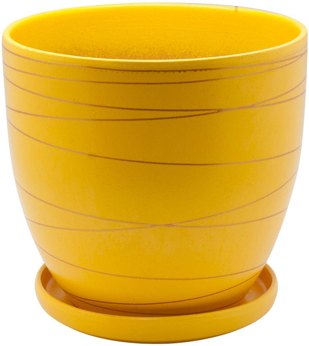 Горшок цветочный Engard, с поддоном, цвет: желтый, 0,5 л горшок керамический с поддоном листок 4 7 л желтый