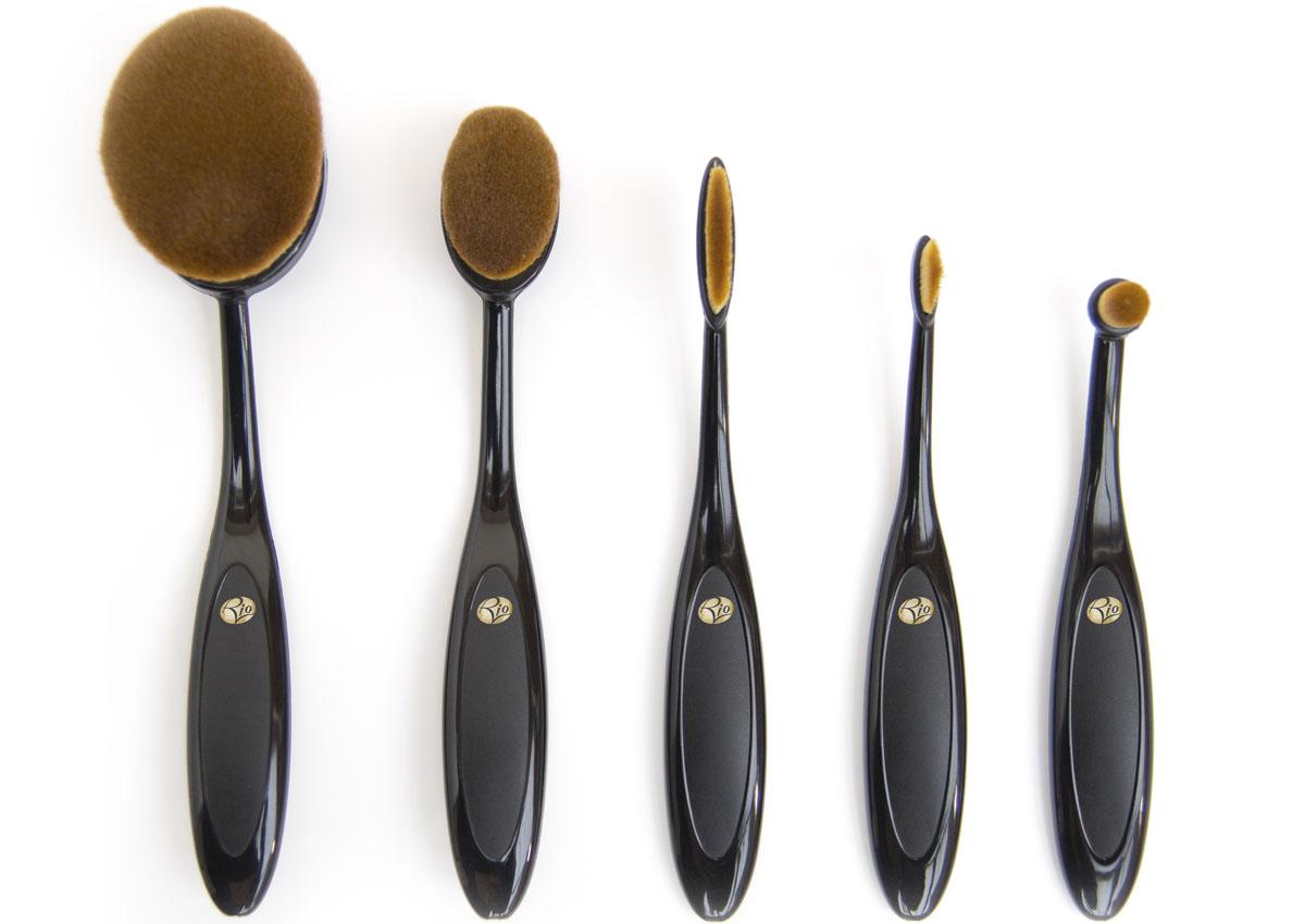Rio Профессиональный набор кистей для нанесения макияжа Brom, микрофибра, 5 предметов