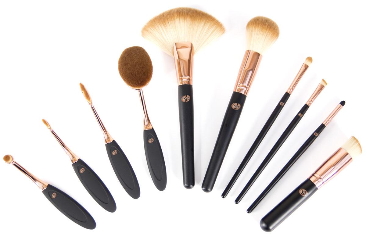 Rio Профессиональный набор кистей для нанесения макияжа Brco, 10 предметов