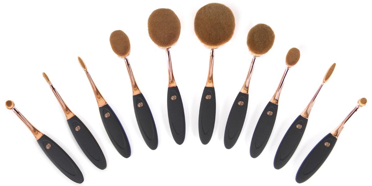 Rio Профессиональный набор кистей для нанесения макияжа Brch, микрофибра, 10 предметов