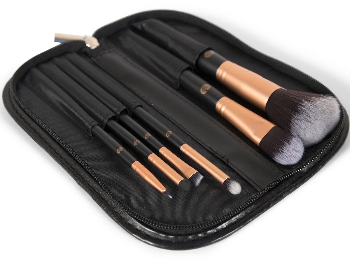 Rio Профессиональный набор кистей для макияжа Brce, 6 предметов + чехол