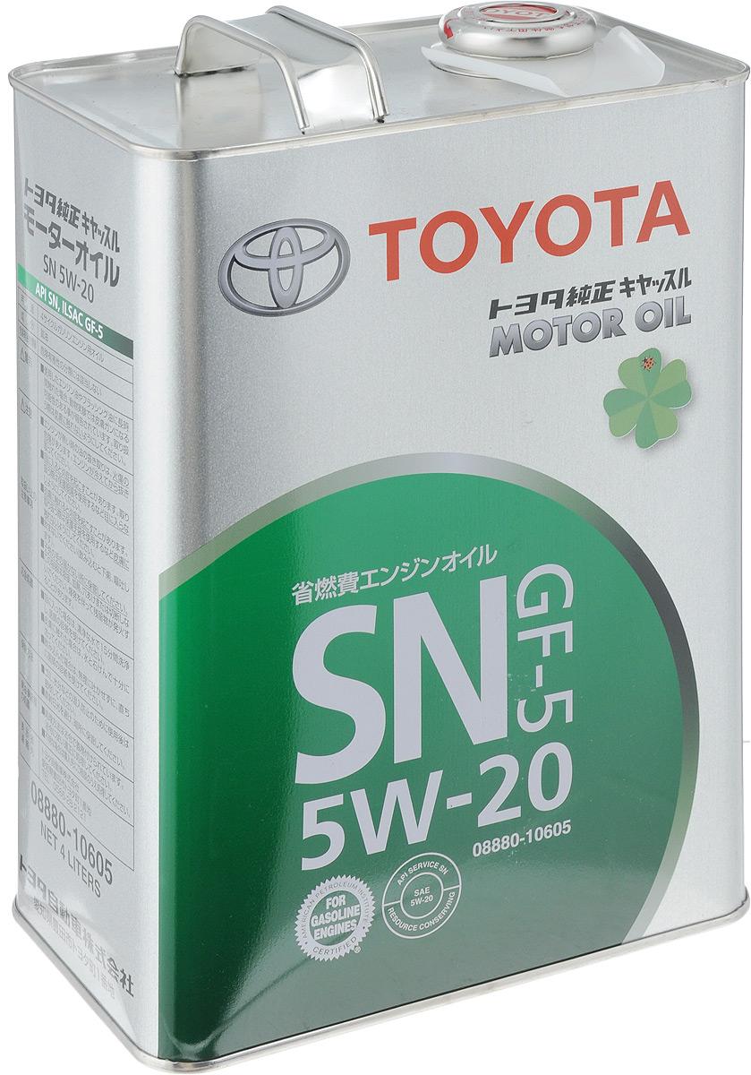 Масло моторное Toyota, синтетическое, класс вязкости 5W-20, 4 л08880-10605Моторное масло Toyota - это современное оригинальное синтетическое моторное масло. Рекомендуется применять во всех бензиновых двигателях малолитражных автомобилей марки Тойота, выпущенных после 2001 года. Является HC-синтетикой (гидрокрекинг-синтетика), но по своим свойства абсолютно не уступает современной синтетике, а большинстве случаев даже превосходит их. Моторное масло Toyota предназначенное для исключительной защиты двигателя и повышенной экономии топлива. Благодаря высококачественным присадкам, обеспечивает безопасную работу двигателя в различных температурных условиях. Товар сертифицирован.