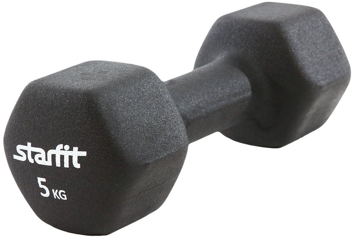 Гантель Starfit DB-201, неопреновая, цвет: черный, 5 кг гантель неопреновая onerun цвет розовый 0 5 кг
