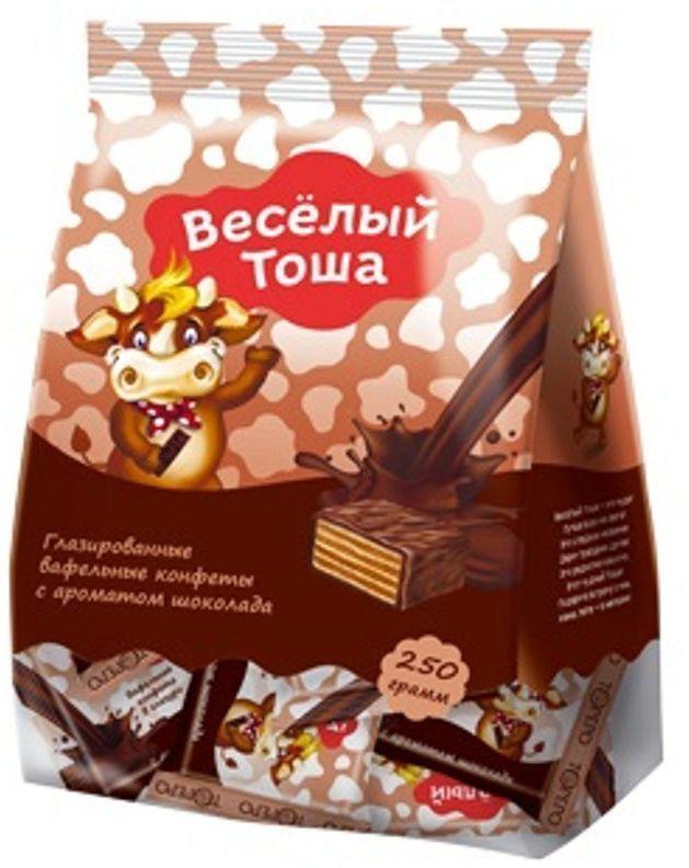 Веселый Тоша конфеты вафельные глазированные с ароматом шоколада, 250 г густо хрусто орех конфеты глазированные вафельные 500 г