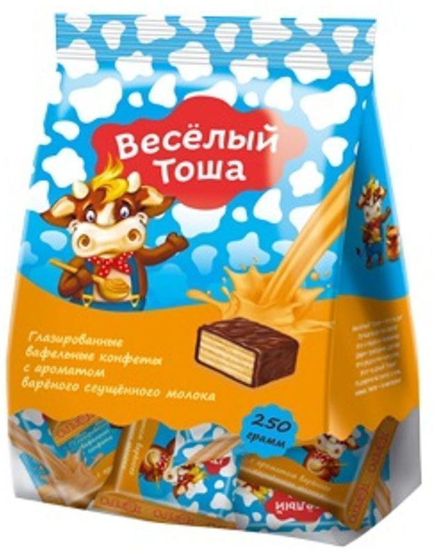 Веселый Тоша конфеты вафельные глазированные со сгущенным молоком, 250 г густо хрусто орех конфеты глазированные вафельные 500 г