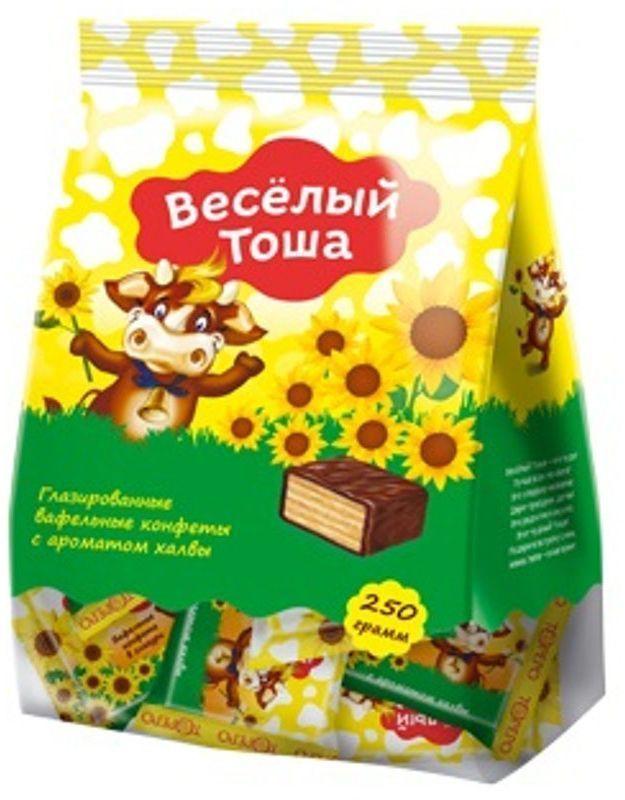 Веселый Тоша конфеты вафельные глазированные с ароматом халвы, 250 г густо хрусто орех конфеты глазированные вафельные 500 г