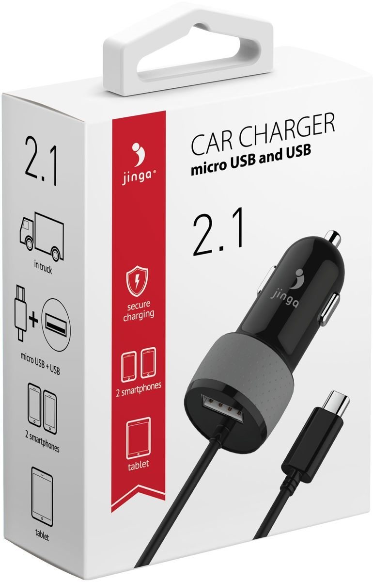 Jinga JinCARM21BL автомобильное зарядное устройство, Black jinga basco m1 4g black