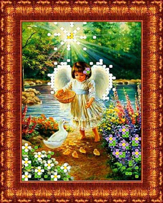 """Набор для вышивания бисером Каролинка """"Ангел с утятами"""", 8 х 11,8 см"""