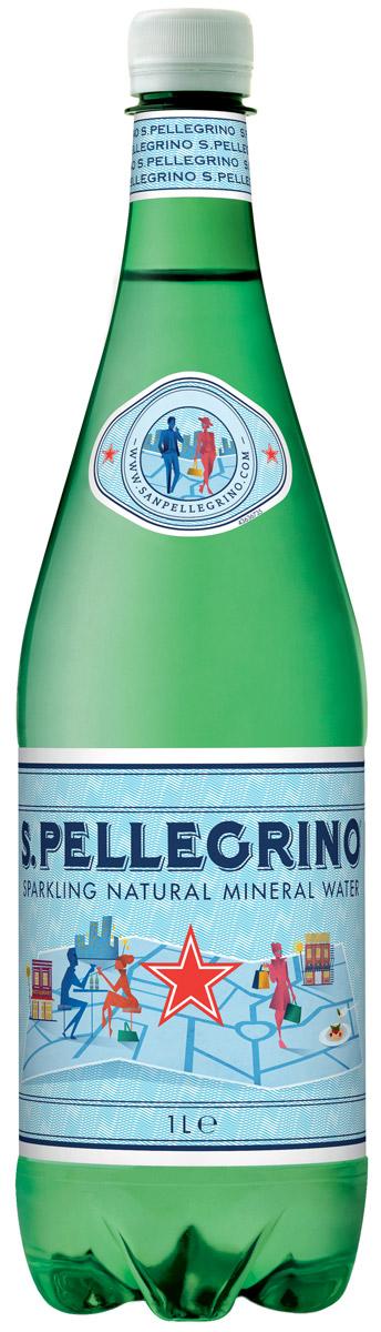 San Pellegrino вода минеральная газированная гидрокарбонатно-сульфатная магниево-кальцевая, 1 л нарзан вода минеральная нарзан натуральной газации 1 л